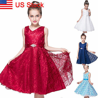 Kids Girls Party Flower Formal Wedding Bridesmaid Pageant Prom Tulle Tutu Dress
