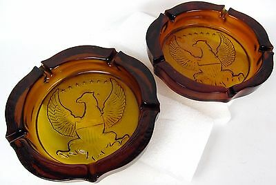 Antique Lot of 2 HEAVY Federal 7 Star Eagle Amber Thick Glass Man Cave Ashtrays