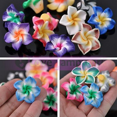 Wholesale 10/30pcs Mixed Polymer Fimo Clay Lily Flower Loose Spacer Beads Lot