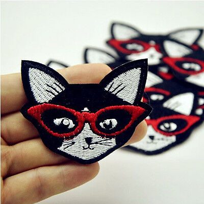 1Pcs Black Cat Embroidered Iron On Patches Badge Bag Fabric Applique Craft