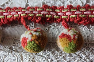 "2 Antique French Cotton Red & Green ""Bobble Trim"" Yardage c1880~Christmas"
