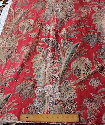 Stunning Antique Big Scale Hand Blocked French Indienne Fabric c1830-1840