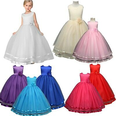 Flower Girl Dress Princess Formal Birthday Bridesmaid Graduation Pageant NEW
