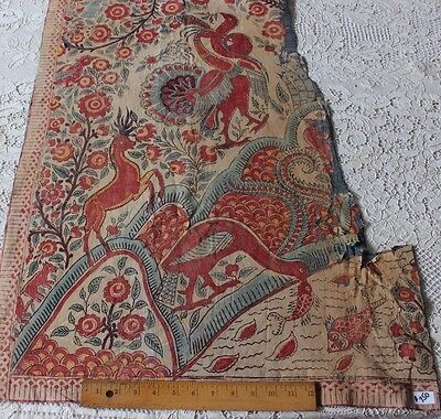 Antique 18thC Indian Hand Blocked Cotton Partial Palampore~Exotic Animals