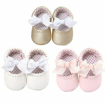 Baby Girl Infant Princess Soft Sole Crib Shoes Bow Slip On Party Prewalker 0-18M