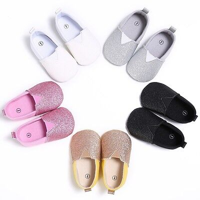 Newborn Baby Girl Soft Crib Shoes Toddler Prewalkers Cotton Slip On Shoes 0-18M