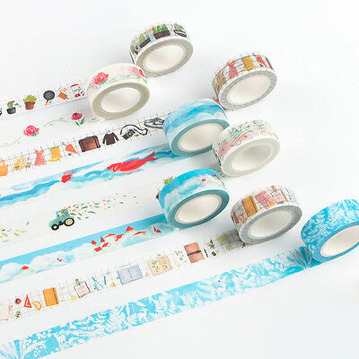 Neu Washi Tape Scarpbooking Aufkleber Decor Roll Papier Masking Adhesive Craft