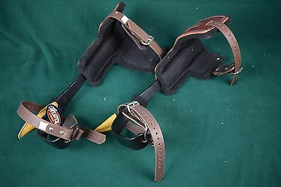 "Pair of Buckingham 26"" climbing gaffs / spurs with T pads + sheaths - NEW"