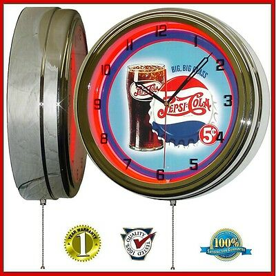 """Pepsi Cola Big Glass 5 Cents Sign 16"""" Red Neon Lighted Wall Clock Chrome"""