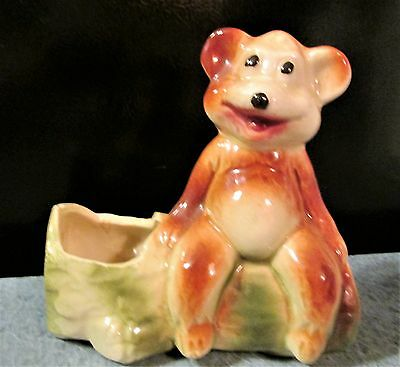 VINTAGE Smiling Bear on Log Planter 1940's American Bisque Company GREAT SHAPE