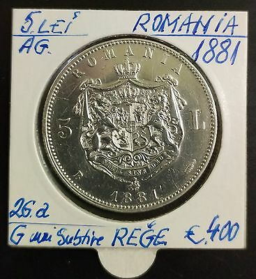 "5 lei 1881 SILVER - G from ""REGE"" thin"