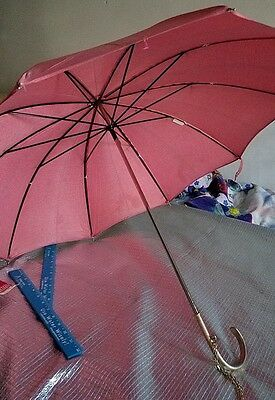 Vintage Shedrain Parasol/umbrella Pink With Metal Frame. Wrist Chain