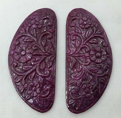 135.95 Cts Natural Ruby Gemstone Hand Carved Unique Pair For Earring Jgicv0051