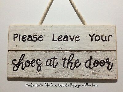 Please Remove Your Shoes Sign quality hand made wood Welcome Wall Door Signs