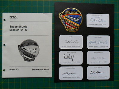 NASA Space Shuttle signed COLUMBIA STS-61C by all 7 crew, patch, press kit 1986