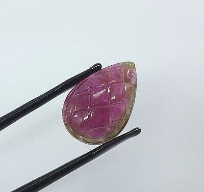 25.85 Cts Natural By Colour Tourmaline Hand Carved Very Rare Piece  Jgicv0036