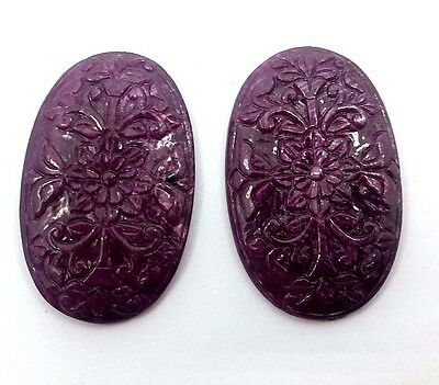 139.10 Cts Natural Ruby Gemstone Hand Carved Nice For Big Earring Jgicv0053