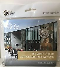 2017 Welsh dragon Silver £20 Twenty Pound Coin Exclusive Royal Mint Experience