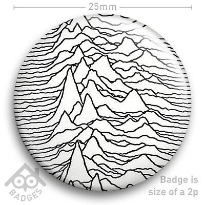 "Joy Division UNKNOWN PLEASURES - Ian Curtis Factory Records Badge 25mm 1"" NEW"