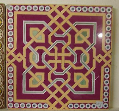 "Original  English  Minton China Works  8x8""Tile c1870s"
