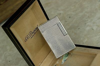 S.T. DUPONT L1 Lighter-Horizontal Finishing SILVER-From 80's-With BOX(Gatsby-L2)
