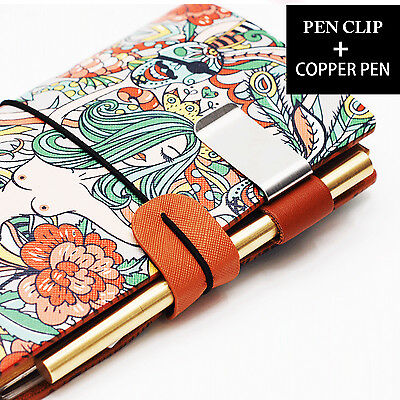 Vintage Golden Pen Leather Pen Clip Set for Travel Journal Notebook Diary