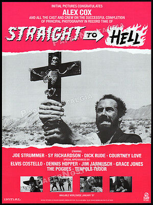 STRAIGHT TO HELL__Orig. 1986 Trade AD promo_poster__JOE STRUMMER__ELVIS COSTELLO