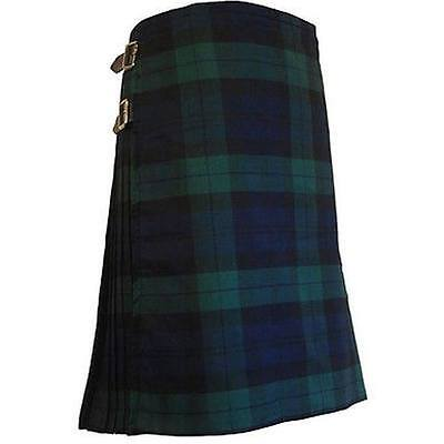 Men Traditional 8 Yard 13 oz Black Watch Tartan Kilt Handmade Custom Utility