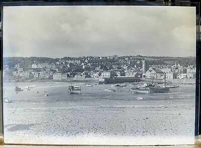 St Ives Cornwall Harbour Boats Antique Large 1/2 Plate Glass Negative Photo