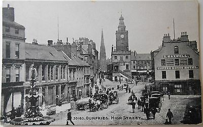 Vintage Postcard High Street Dumfries People Shops Horse Cart Grano Photocrom