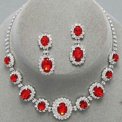 Red silver tone rhinestone crystal necklace set brides proms party sparkly 249