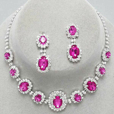 Pink silver tone rhinestone crystal necklace set brides proms party sparkly 249