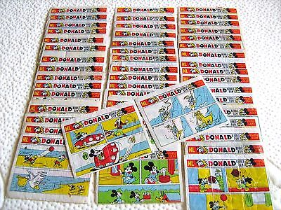 VINTAGE Orginal Bubble Gum  Inserts Wrappers Wax DONALD DUCK SET 50  Pcs