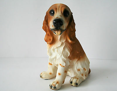 """DOG SPANIEL Figurine Brown and White Sitting  8"""" Resin NEW IN BOX"""