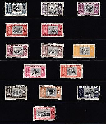 Bolivia  1951  Sports Centres  Set Of 14 Mnh
