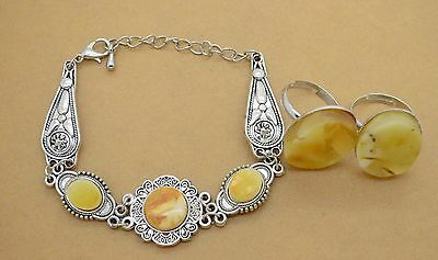 Silver Jewelry Necklace & earrings with Amber gemstones 17 gr
