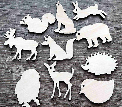 Wooden woodland animal shapes  for crafts gift tags blank shapes x10 laser cut