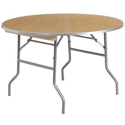 Flash Furniture Round Heavy Duty Birchwood Folding Banquet Table with Metal...