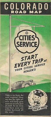 1941 CITIES SERVICE OIL COMPANY Road Map COLORADO United States Highways Gousha