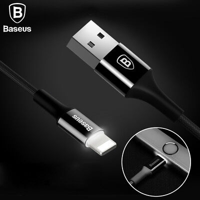 Baseus LED Light USB Cable For iPhone 7 6 6s Plus 5 5s se 2A Fast Sync Charging