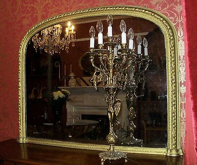 LARGE ANTIQUE WOOD/GESSO MERCURY GLASS OVERMANTLE MIRROR c.1850