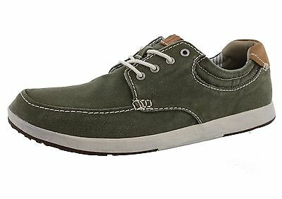 Men's Clarks NORWIN VIBE Green Canvas Lace-Up Casual Boat Shoes Sneakers