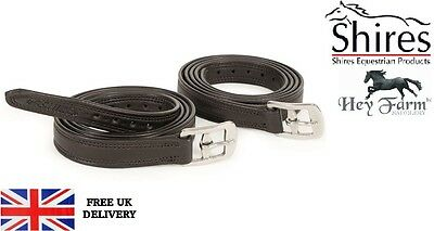 """Shires Easy Care Non-Stretch Adults Stirrup Leathers Black Or Brown 54"""" Or 61"""""""