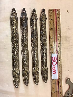 4x Vintage Ornate Brass Decorative Plaques 20cm long