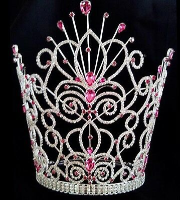 Miss Pageant large tiara white glass crown and bridal pink new