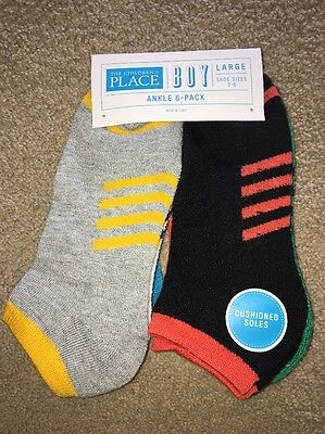 The Children's Place Boys Ankle Socks 6 Pair Pack Size Large 3-6 NWT
