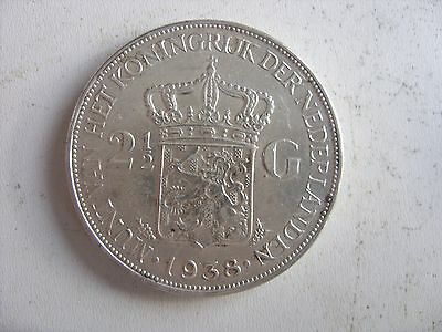 2.5 SILVER GULDEN 1938 NETHERLANDS  Wilhelmina  	KM# 165  GOOD CONDITION !!!!!