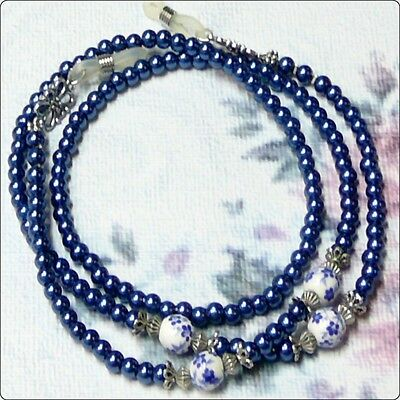 Reading Eye glasses lanyard chain Dark Blue and White pearl porcelain