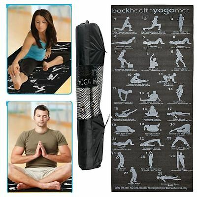 28 Position Exercise Guide Mat Yoga Exercise Fitness Workout Physio Non Slip Mat