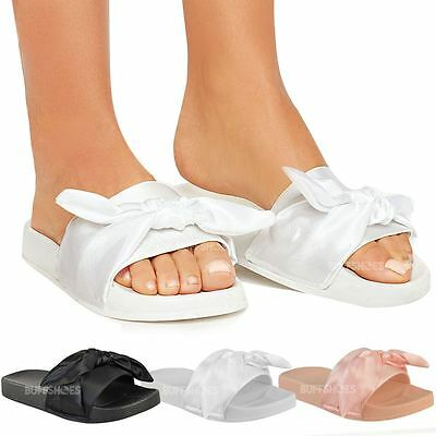 Womens Ladies Comfy Plain Rubber Bow Sliders Flats Shoes Slides Slippers